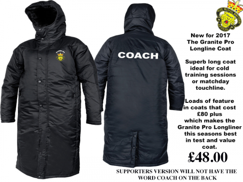 New for 2017 is this the best Touchline/Sub Coat in the UK....probably