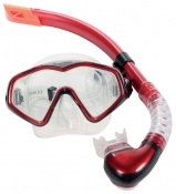 Divetech PRO Cayman Silicone Mask & Snorkel - Met Red & Black