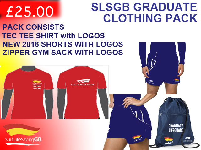 SLSGB Grauate Lifeguard Tee Shirt, Shorts Bag Package