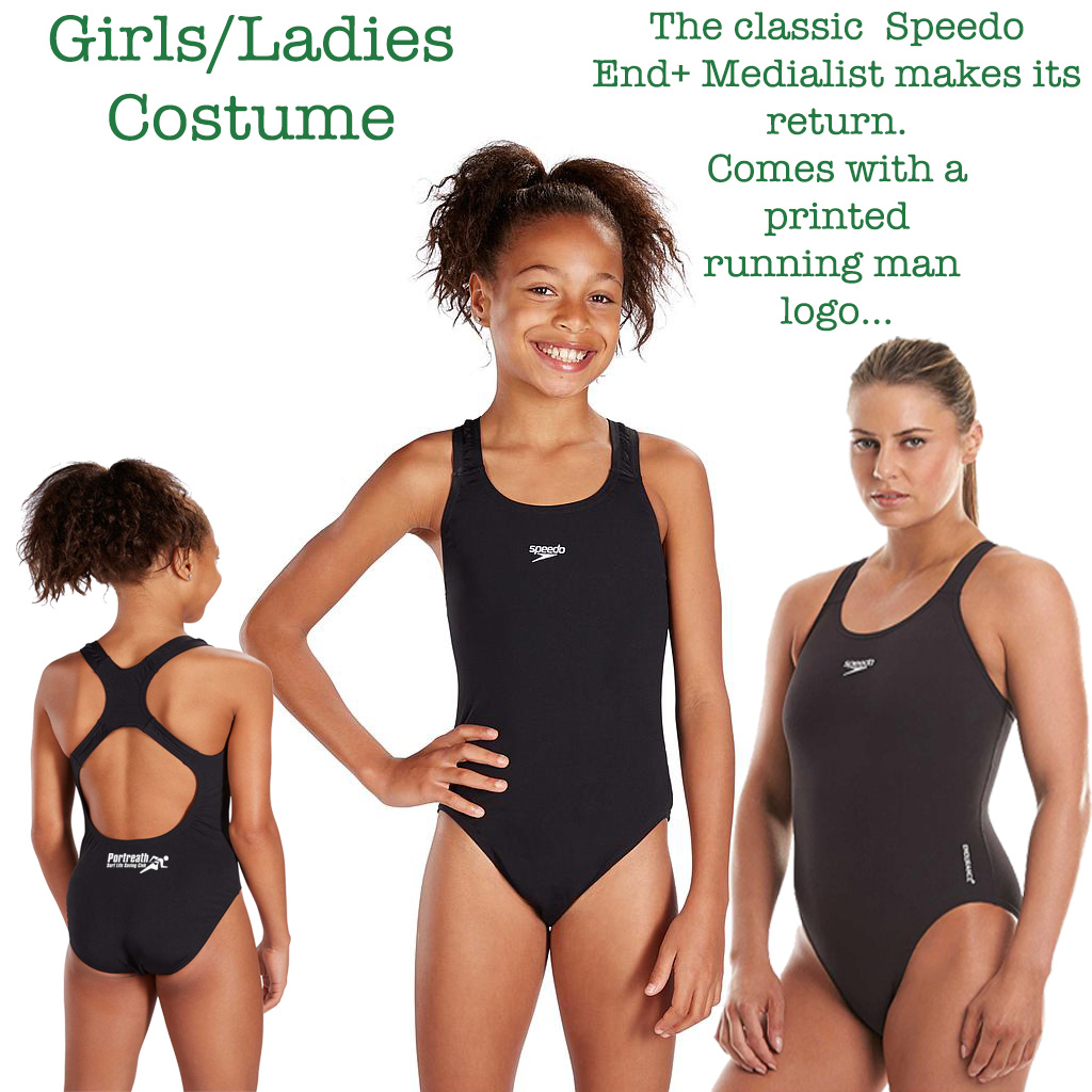 Girls and Ladies Speedo Black Medalist Costume