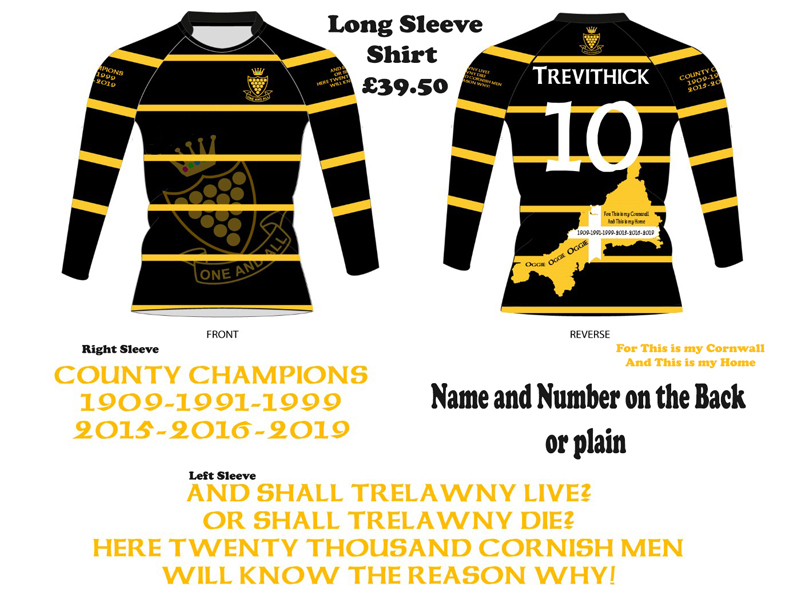 Cornwall Rugby Supporters Shirt Long Sleeve